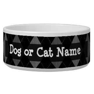 Black and Charcoal Gray Argyle Pet Food Bowls