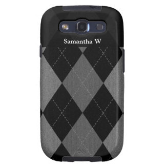 Black and Charcoal Gray Argyle Samsung Galaxy SIII Cover