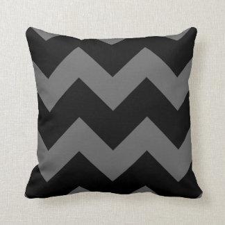 Black and Charcoal Gray Large Chevron Print Throw Pillow