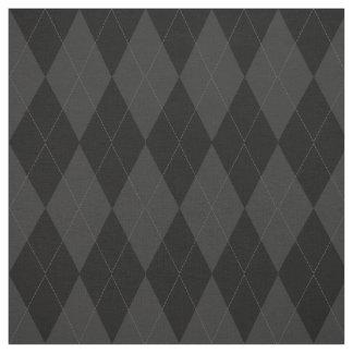 Black and Charcoal Grey Diamond Argyle Pattern Fabric