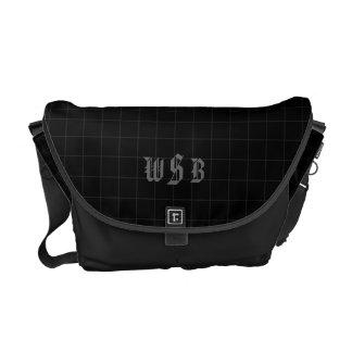 Black and Charcoal Monogrammed Men's Messenger Bag