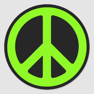 Black and Chartreuse Peace Symbol Classic Round Sticker