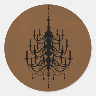 Black and Chocolate Chandelier Wedding Seal Classic Round Sticker