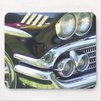 black and chrome classic car front passenger side mouse pad