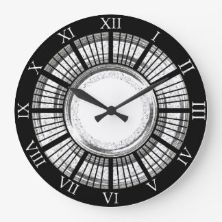Black and Chrome Clock with Roman Numerals