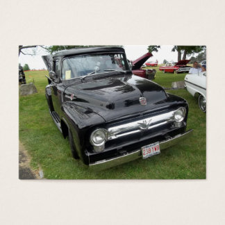 Black and chrome vintage pickup truck business card