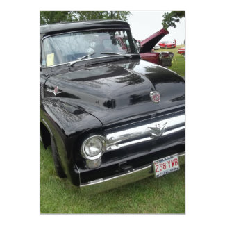 Black and chrome vintage pickup truck card