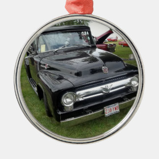 Black and chrome vintage pickup truck metal ornament