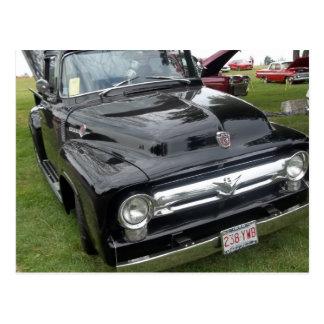 Black and chrome vintage pickup truck postcard