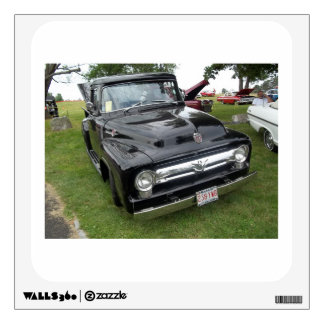 Black and chrome vintage pickup truck wall decal