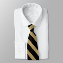 Black and Classic Gold University Stripe Tie