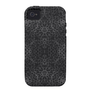 Black and Coal Leopard Print Pattern iPhone 4/4S Case