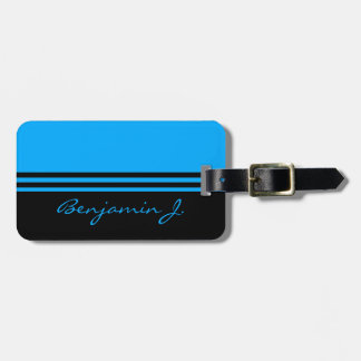 Black and Cobalt Blue Stripped Custom Luggage Tag
