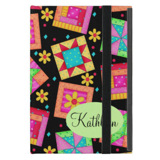 Black and Colorful Patchwork Quilt Block Art Covers For iPad Mini
