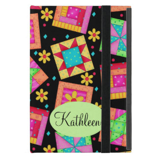 Black and Colorful Patchwork Quilt Block Art Cases For iPad Mini