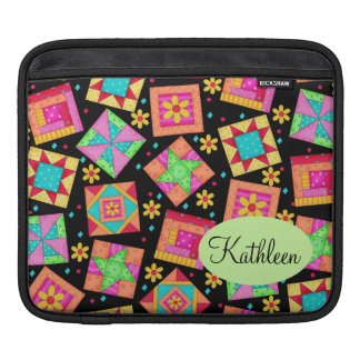 Black and Colorful Patchwork Quilt Block Art iPad Sleeves