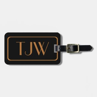 Black and Copper Color Initialed Luggage Tags