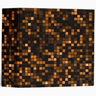 Black And Copper 'Meteor Shower' Squares Pattern 3 Ring Binder