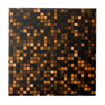 Black And Copper 'Meteor Shower' Squares Pattern Ceramic Tile