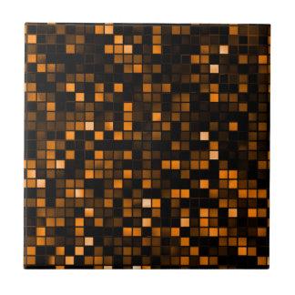 Black And Copper 'Meteor Shower' Squares Pattern Ceramic Tile