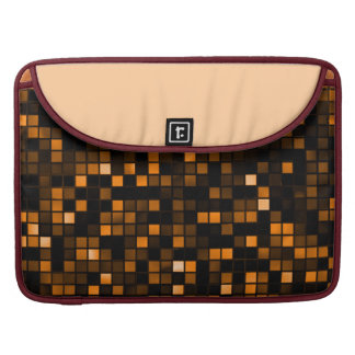 Black And Copper Meteor Shower Squares Pattern MacBook Pro Sleeves