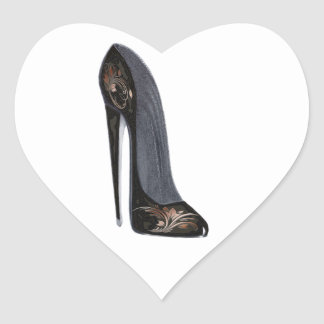 Black and Copper Stiletto Shoe Art Gifts Heart Sticker