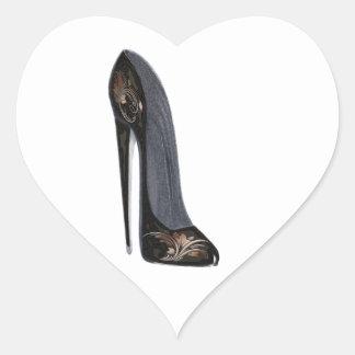 Black and Copper Stiletto Shoe High Heel Art Heart Sticker
