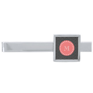 Black and Coral Chevron with Custom Monogram Silver Finish Tie Bar