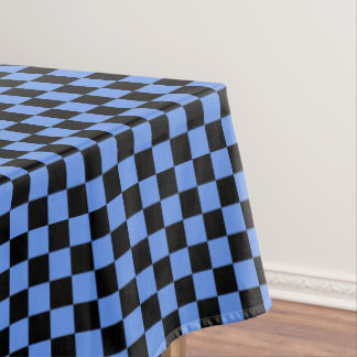 Black And Cornflower Blue Checkered Tablecloth