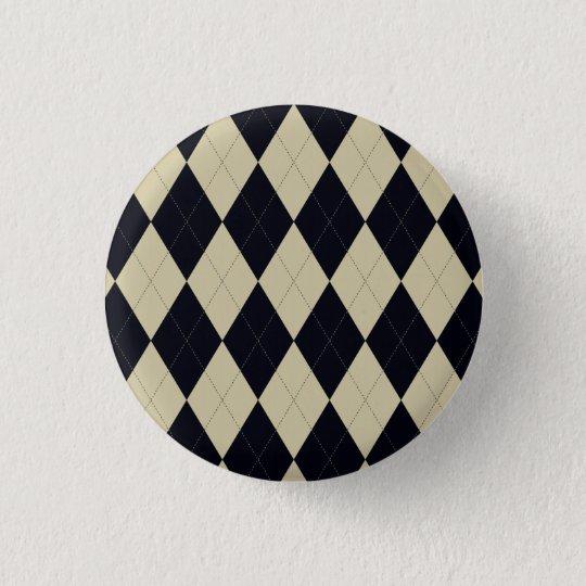 Black and Cream Argyle Button