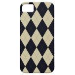 Black and Cream Argyle Universal iPhone 5 Case
