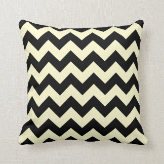Black and Cream Chevron Zigzag Throw Pillow
