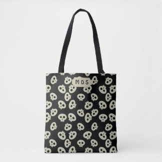 Black and Cream Cute Skull Pattern Printed Tote