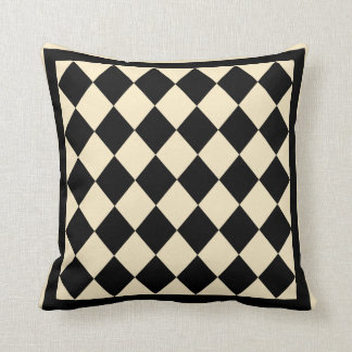 Black and Cream Diamond Decorative Pillow