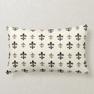 Black and Cream Elegant Fleur de Lis Throw Pillow