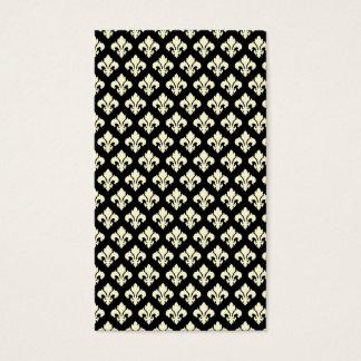 Black and cream fleur de lis business card
