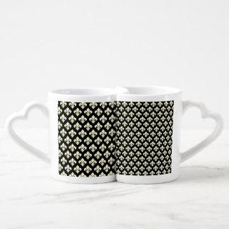 Black and cream fleur de lis coffee mug set
