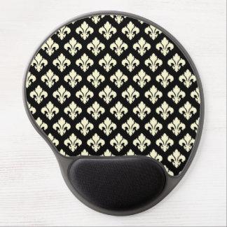 Black and cream fleur de lis gel mouse mats