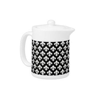 Black and cream fleur de lis teapot