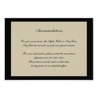 Black and Cream Floral Embossed Wedding Insert Invite