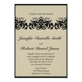 Black and Cream Floral Embossed Wedding Invitation