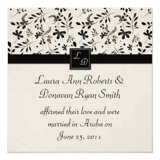 Black and Cream Floral Post Wedding Invitation