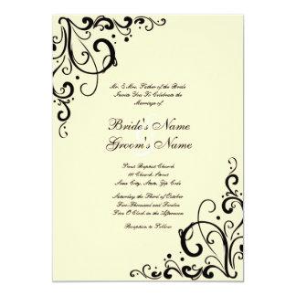 Black and Cream Flourish Wedding Invitation