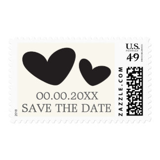 Black and cream hearts wedding Save the Date Stamp