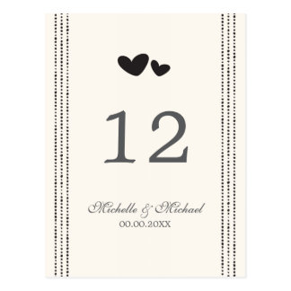 Black and cream hearts wedding table number card postcards