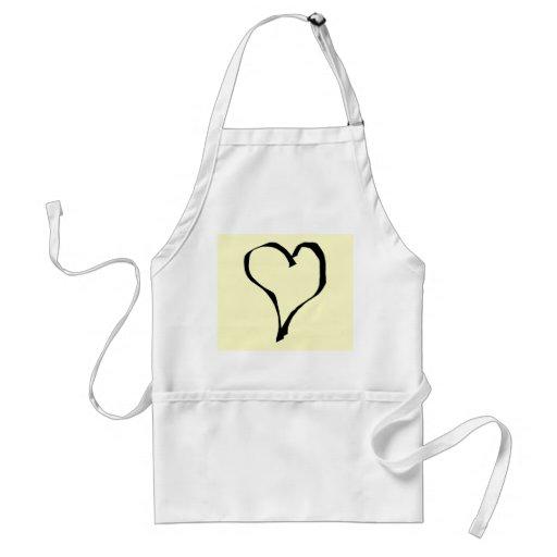 Black and Cream Love Heart Design. Apron