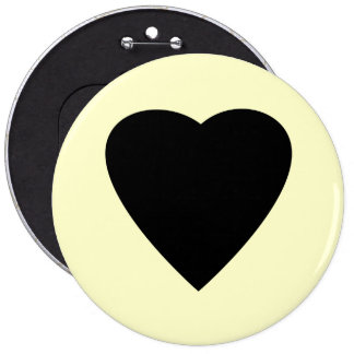 Black and Cream Love Heart Design. Pinback Buttons
