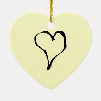 Black and Cream Love Heart Design. Ceramic Ornament