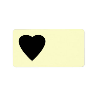 Black and Cream Love Heart Design. Personalized Address Labels