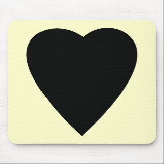 Black and Cream Love Heart Design. Mouse Pad